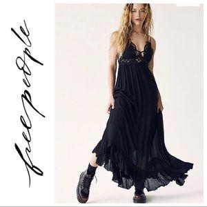 NWT $128 Free People Adela Lace Maxi Slip Black
